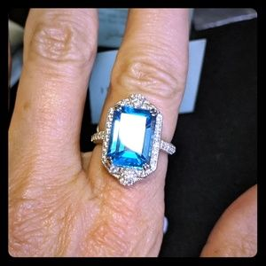 Judith Ripka blue topaz and Sterling silver